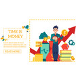 business financing scene with young boy holding vector image