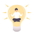 businessman meditating inside glowing bright bulb vector image vector image