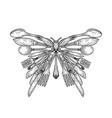 butterfly silhouette made cutlery sketch vector image