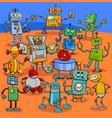 cartoon robot characters big pack vector image vector image
