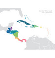 central america and the caribbean map vector image