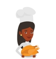 Chief cooker holding roasted chicken vector image vector image