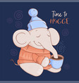 christmas card cute cartoon elephant in a sweater vector image