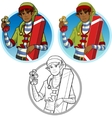 Christmas elf African American boy with gift set vector image