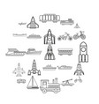 civilian vehicle icons set outline style vector image vector image