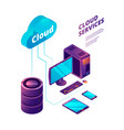 cloud services 3d online safety computer vector image vector image