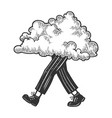 cloud walks on its feet sketch engraving vector image vector image