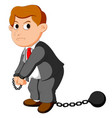 corruption businessman with ball and chain vector image