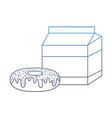 degraded line sweet donut with milk box snack vector image