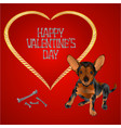 dog puppy small happy brown terrier and heart vector image