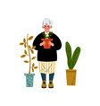 elderly woman caring for plants old lady daily vector image