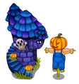 fairy castle with ghost and scarecrow vector image vector image