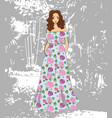fashionable romantic girl in floral maxi dress vector image vector image