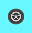 flat car wheel with tire icon on blue vector image vector image