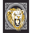 Frame with lion head vintage t-shirt design vector image