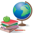 Globe and books vector image vector image