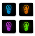 glowing neon light bulb with leaf icon isolated vector image vector image