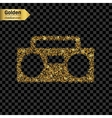 Gold glitter icon of boombox isolated on vector image vector image