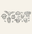 halloween symbols set hand drawn vintage vector image vector image