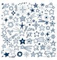 hand drawn stars set vector image vector image