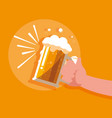 hand with jar of beer isolated icon vector image vector image