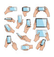 hands with gadgets hand holding phone or vector image vector image