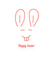 happy easter with thin line rabbit muzzle vector image vector image