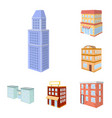 isolated object of city and build icon collection vector image