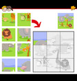 jigsaw puzzles with cute cartoon animals vector image