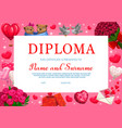 kids saint valentine holiday diploma certificate vector image vector image