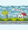 landscape in rain vector image