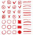large set red doodles or scribbles vector image