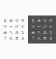 Love and Wedding Icons line Design vector image vector image