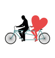 Lovers of cycling Man rolls heart on tandem Heart vector image