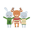 merry christmas celebration cute bear deer and vector image