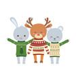 merry christmas celebration cute bear deer vector image vector image