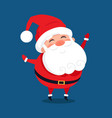 merry santa claus with wide open hands stand smile vector image