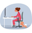 mother working from home cartoon vector image