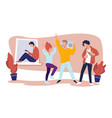 partying friends or university students in dorm vector image vector image