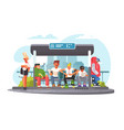 passengers waiting for transport at bus stop vector image vector image