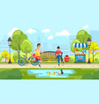 people spending time in city park vector image
