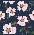 pink peony branch with leaves seamless pattern vector image vector image