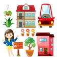 real estate agent and buildings vector image