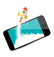 rocket launch on mobile phone business startup vector image vector image