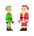 santa claus and christmas elf on white background vector image vector image