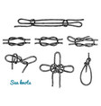 Sea rope knots in different directions for water