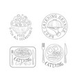 set 4 hand drawn emblems for catering services vector image vector image