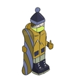 Snowboarder isometric character background vector image