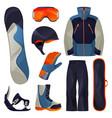 snowboarding sport tools set flat icons vector image vector image
