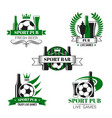 sport bar icon of soccer ball and football trophy vector image vector image